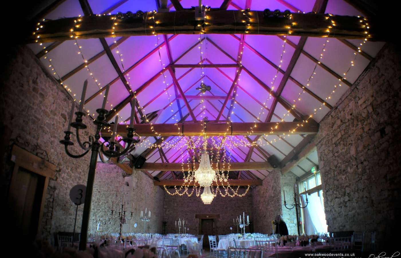 Chandeliers Fairy Lights And Monogram At Notley Abbey