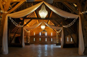 Chandeliers with Drapes and Fairy Lights at Stonehill House
