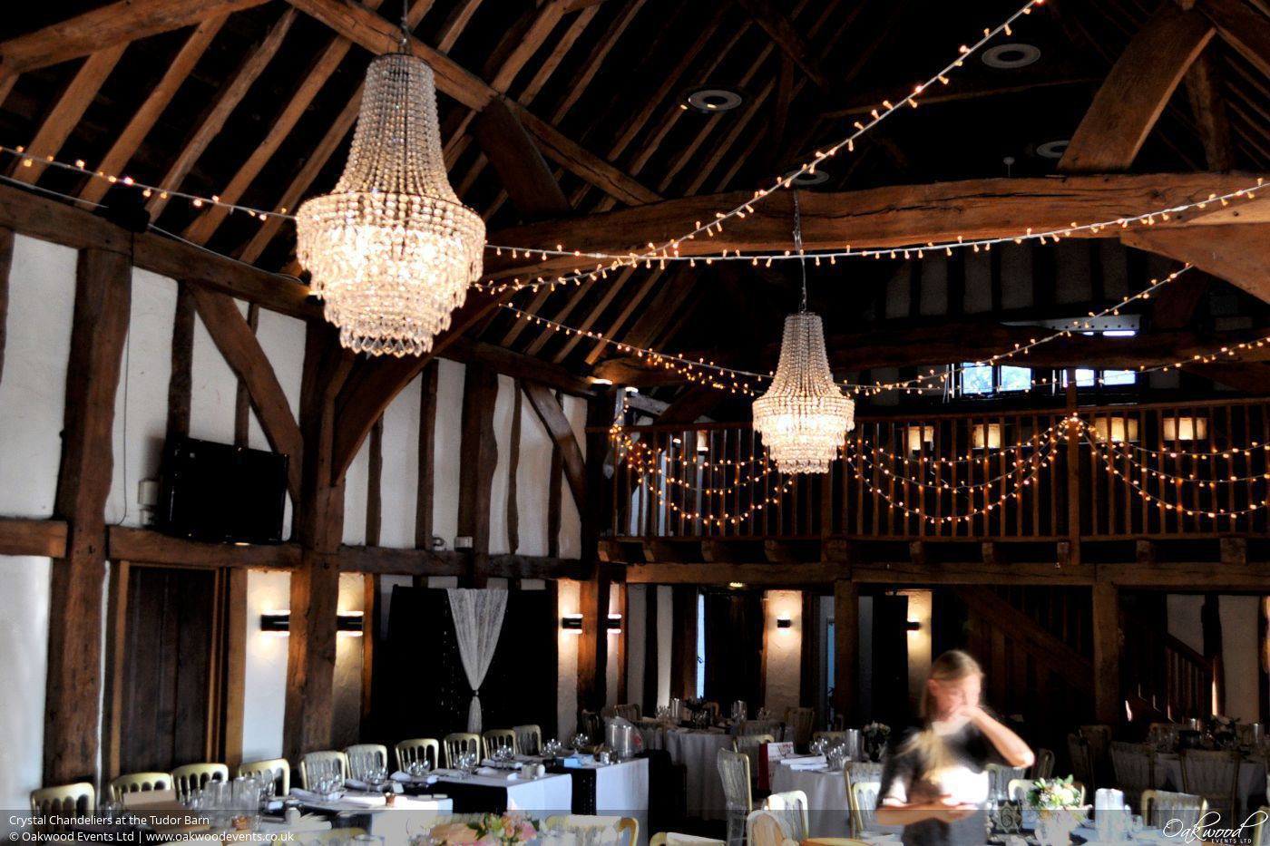 Crystal chandeliers at the tudor barn crystal chandeliers with fairy lights mozeypictures Image collections