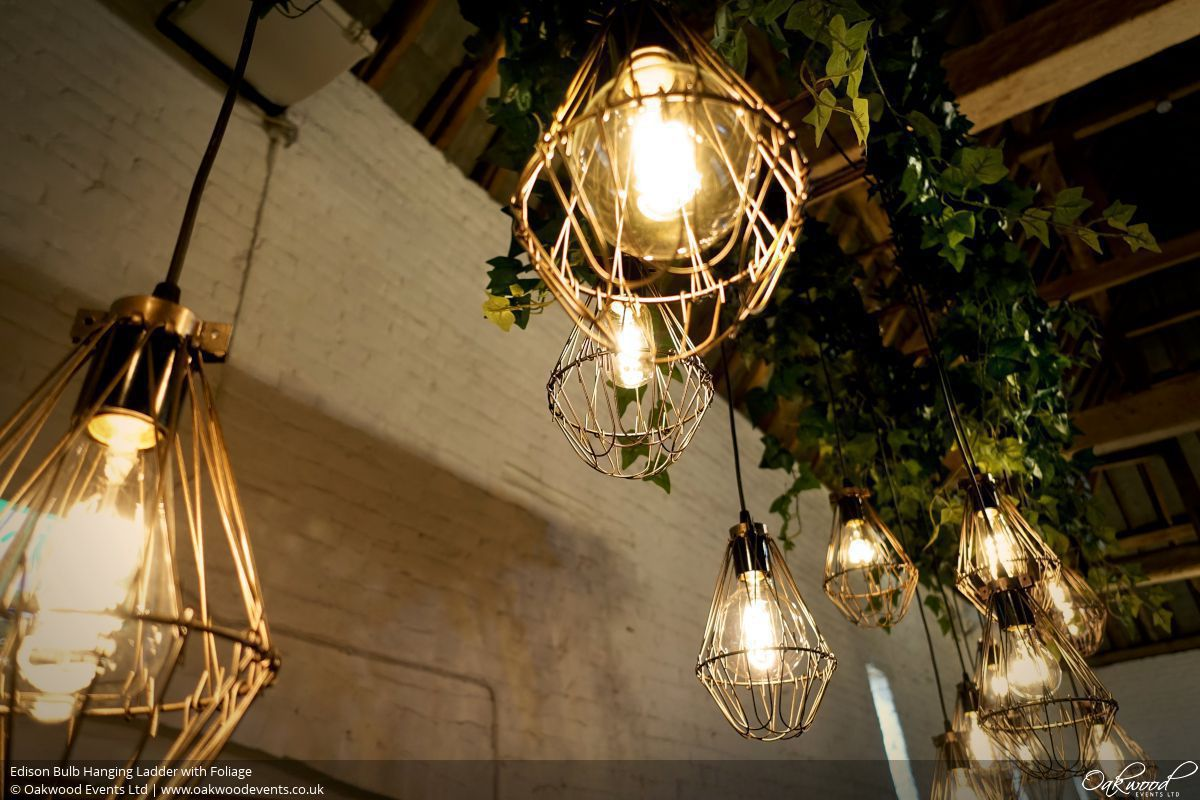 Edison Bulb Hanging Ladder With Foliage