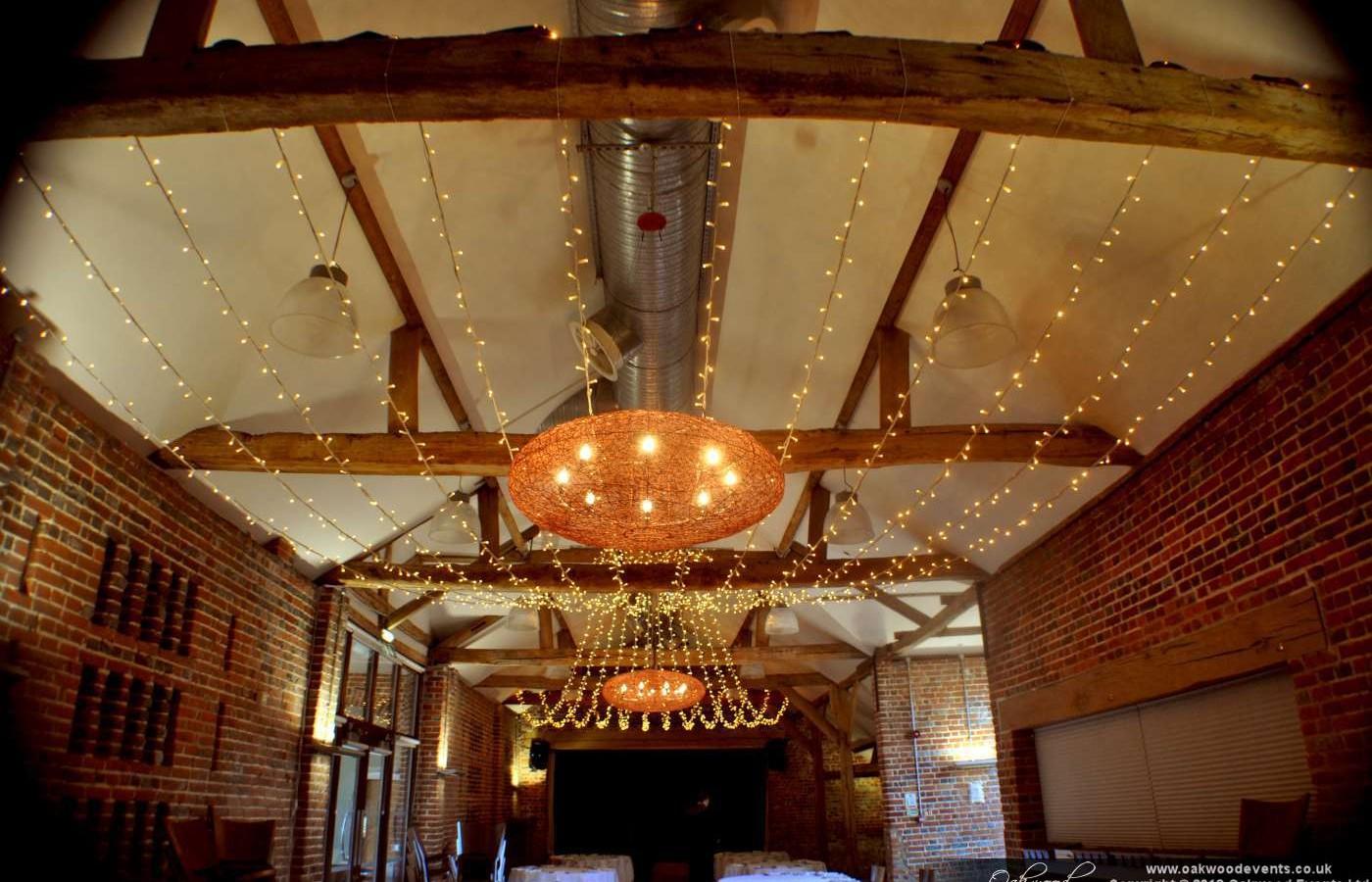 Fairy Light Canopy In The Castle Barn