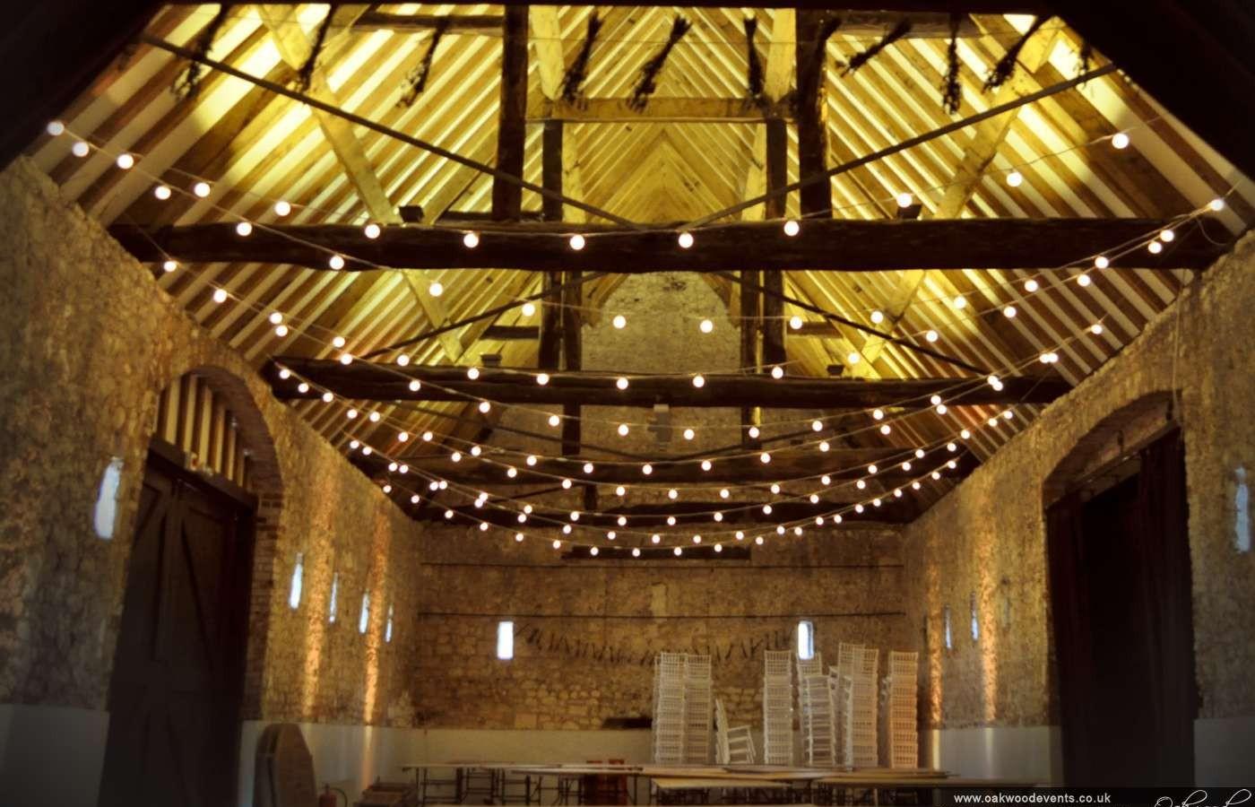 Festoon Lights For A Barn Wedding