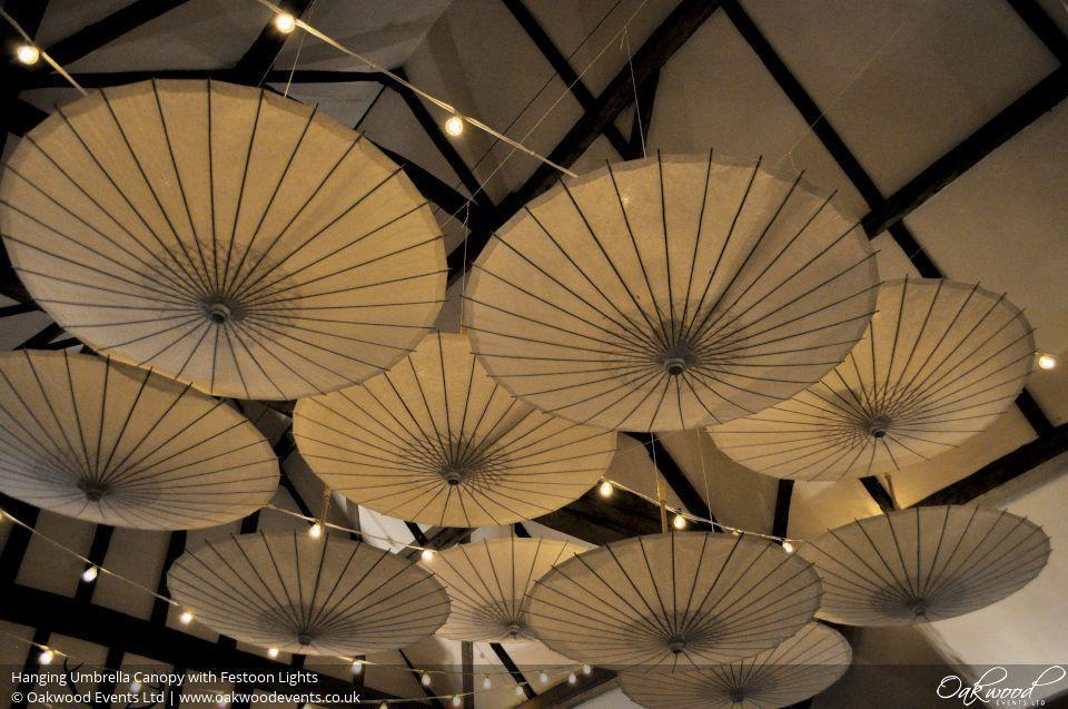 Hanging Umbrella Canopy With Festoon Lights