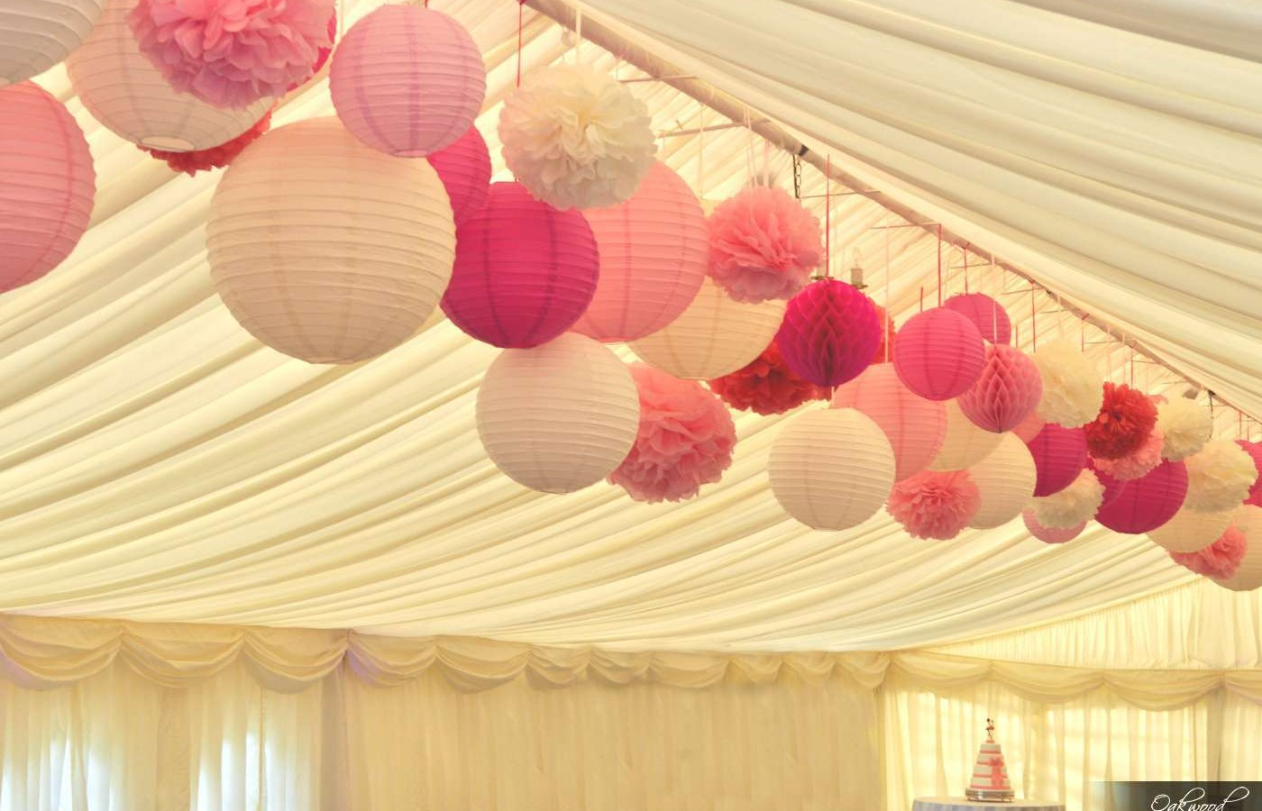 Paper Lanterns And Pom Poms Perfect In Pink