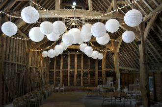 Rushall Farm Fairy Light Star and Paper Lanterns
