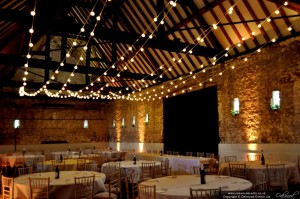Wedding Festoon Lights In A Barn