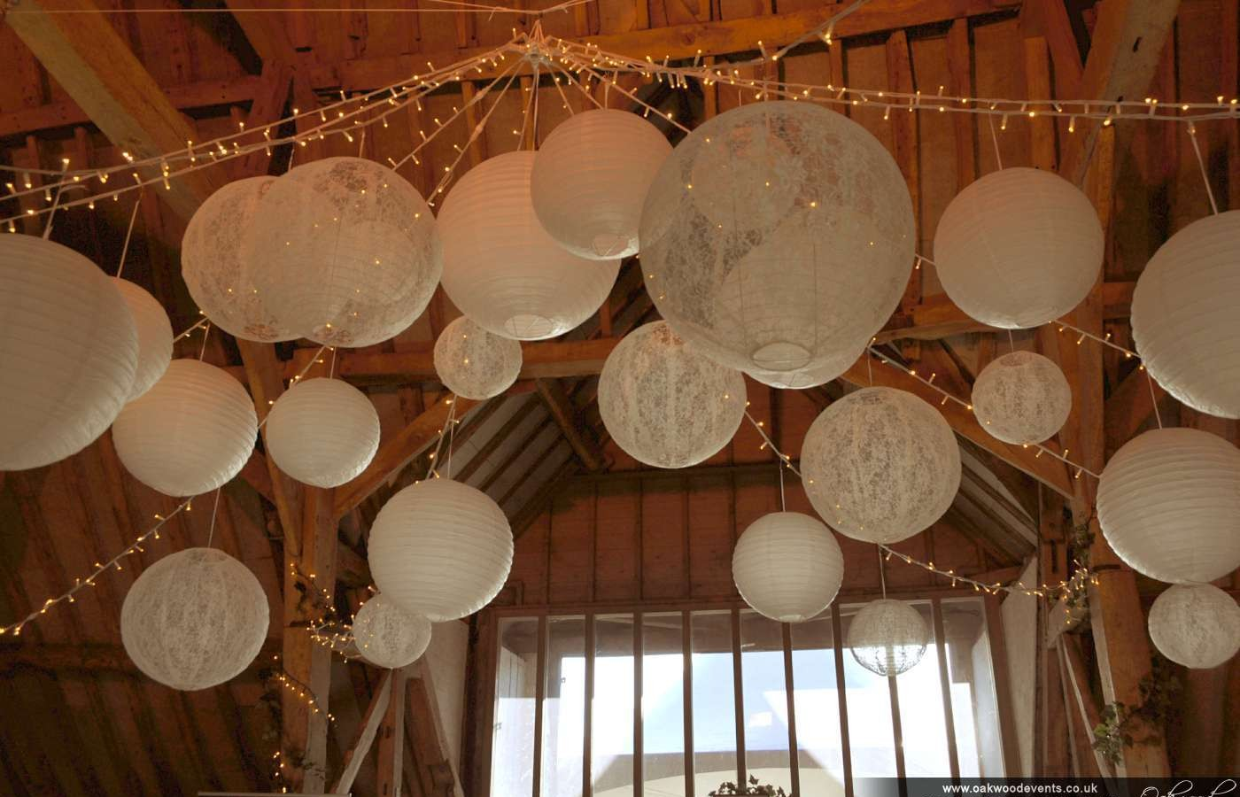 Ufton Court Fairy Lights And Paper Lanterns