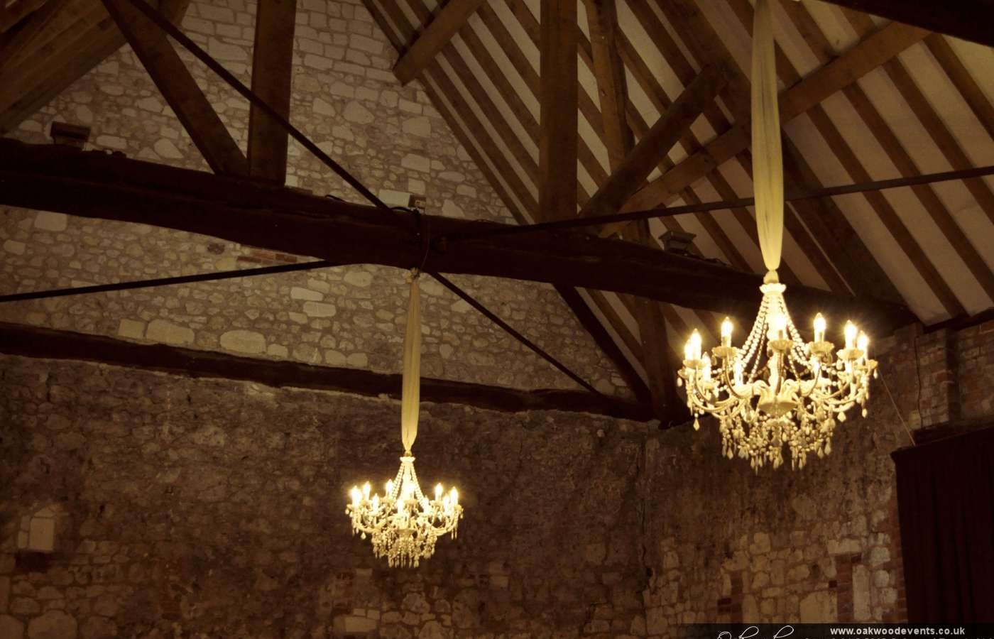 White chandeliers for a barn wedding mozeypictures Gallery
