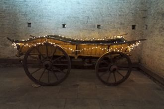 Fairy Lights on Wooden Cart