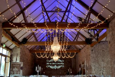 Chandeliers Fairy Lights and Projected Monogram