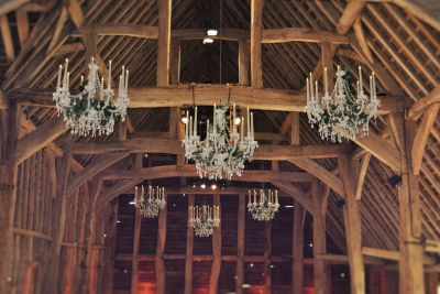 Clustered Chandeliers with Silk Ivy and LED Candles