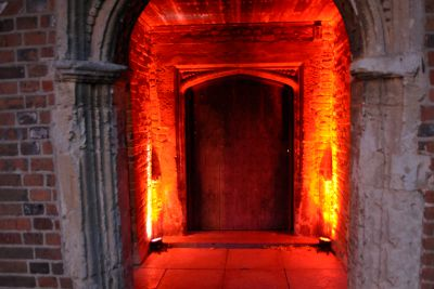 Uplighting in Outdoor Archway