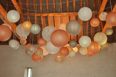 Peach Coral and Grey Paper Lanterns