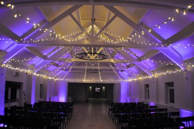 Fairy Light Canopy with Coloured Uplighting