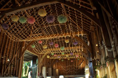 Huge Fairy Light Canopy with Pom Poms
