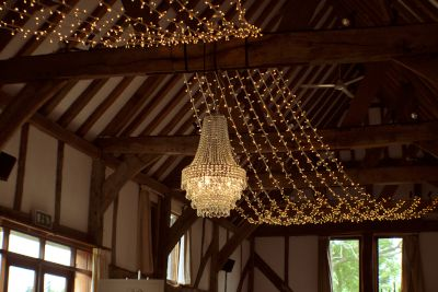 Crystal Chandelier with Fairy Light Ceiling