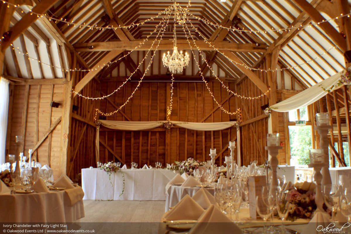 Chandelier hire wedding and event lighting by oakwood events ivory chandelier with fairy light star mozeypictures Gallery