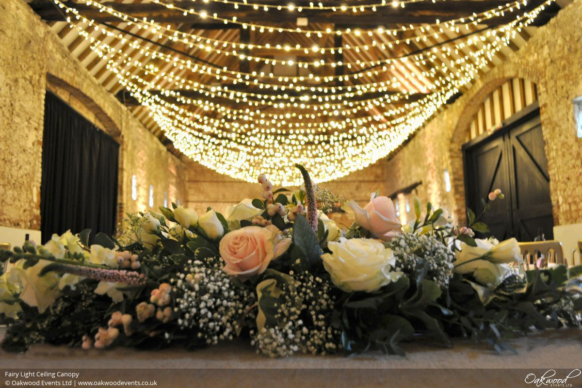 How To String Christmas Lights Across Ceiling : Fairy Light Hire Wedding and Event Lighting by Oakwood Events