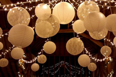 Fairy Light Star Canopy with Paper and Lace Lanterns