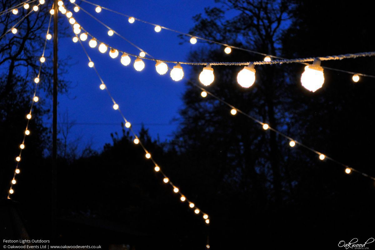 Festoon lights hire oakwood events festoon lights outdoors mozeypictures Gallery