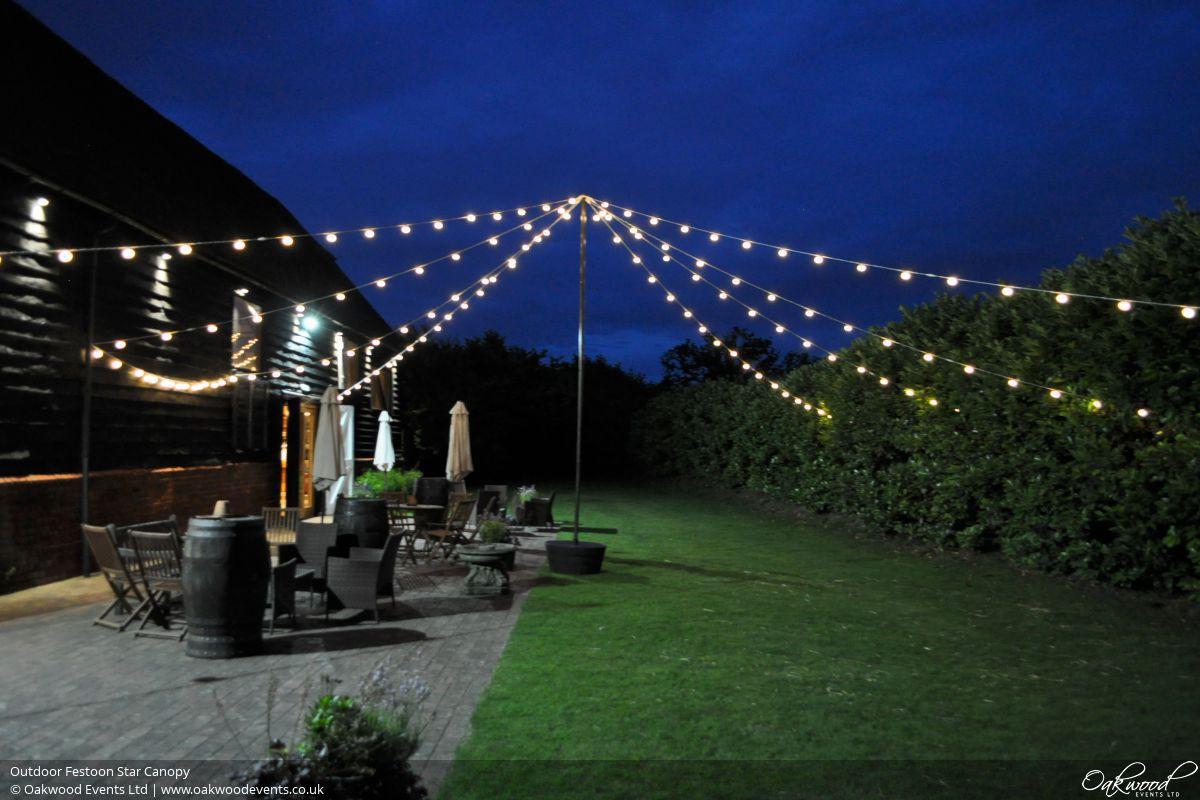 Festoon lights hire oakwood events outdoor festoon star canopy aloadofball Choice Image