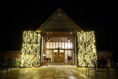 Fairy Lights on Barn Doors