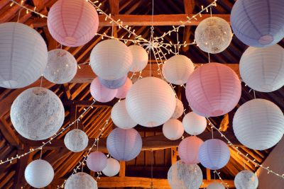 Canopy of Paper and Lace Lanterns