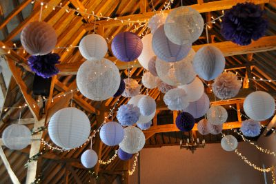 Lanterns with Pom Poms and Honeycomb Balls