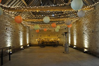Fairy Lights with Paper Lanterns and Uplighters
