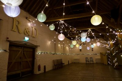Lit Paper Lanterns with Festoon Lights