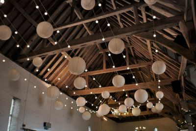 Ufton Court Festoon Lights with Paper Lanterns