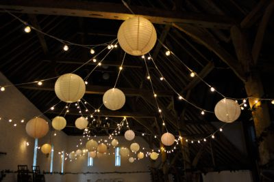 Ufton Court Festoon Random Loops with Paper Lanterns